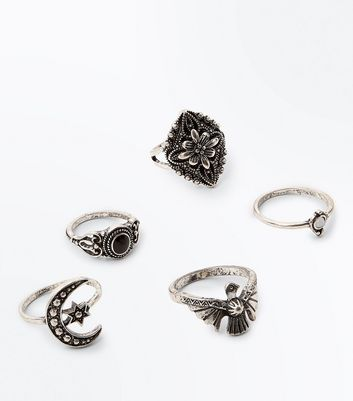 5 Pack Silver Burnished Rings New Look