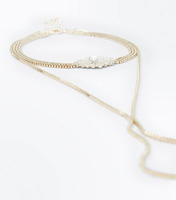 Gold Gem Embellished Chain Necklace New Look