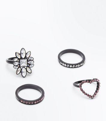 4 Pack Black Metallic Diamante Embellished Rings New Look