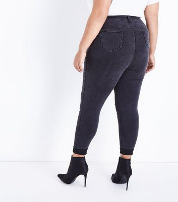 Curves Black Turn Up Hem Skinny Jeans New Look