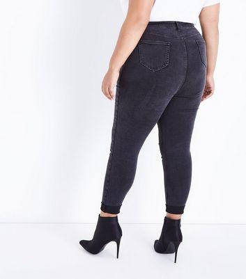 Curves Black Turn Up Hem Skinny Jeans New Look