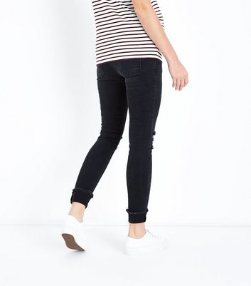 Maternity Black Turn Up Hem Over Bump Skinny Jeans New Look
