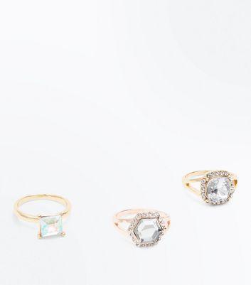 3 Pack Gold Geometric Gem Rings New Look