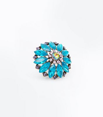 Blue Gem Oversized Cocktail Ring New Look