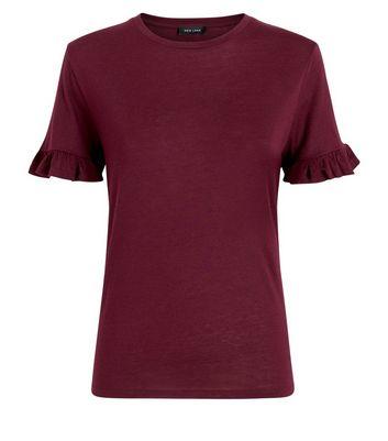 Burgundy Frill Sleeve T-Shirt New Look
