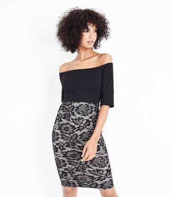 AX Paris Black Lace Skirt Bardot Neck Dress New Look