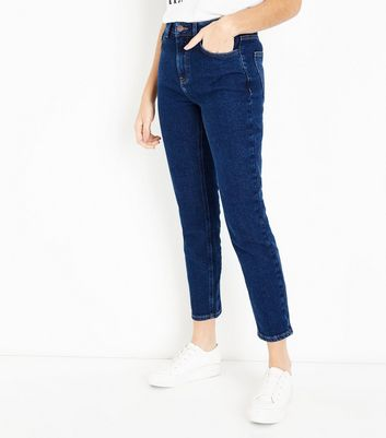 Dark Blue Rinse Wash Straight Leg Jeans New Look