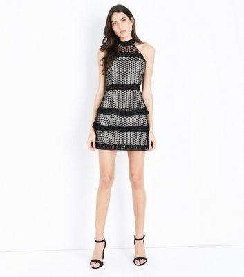 AX Paris Black Crochet Tiered Dress New Look