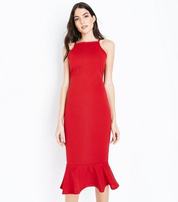 AX Paris Red Frill Hem High Neck Midi Dress