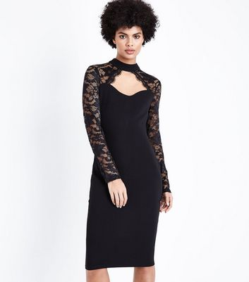 AX Paris Black Lace Long Sleeve Midi Dress