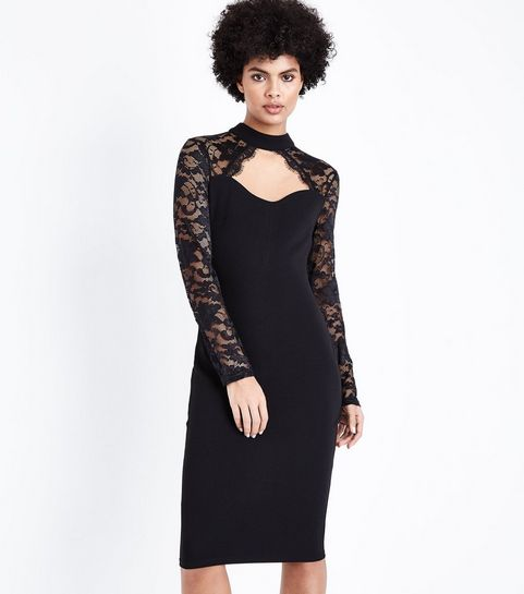 Ax Paris Black Lace Long Sleeve Midi Dress New Look