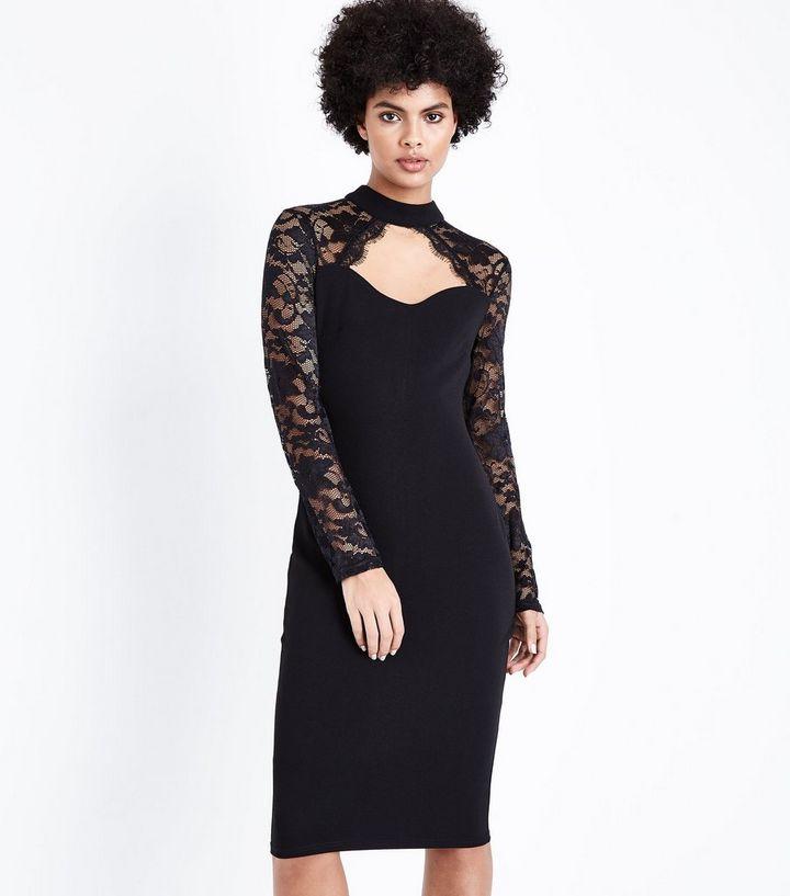 5505f9de2e AX Paris Black Lace Long Sleeve Midi Dress