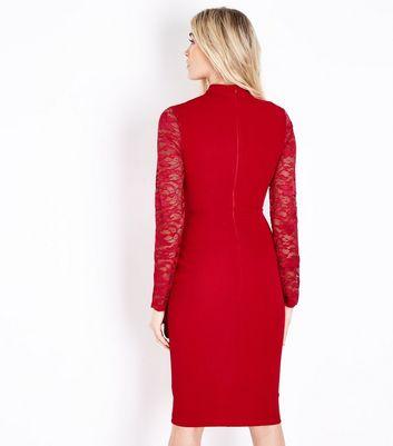 AX Paris Red Lace Sleeve Choker Neck Midi Dress New Look