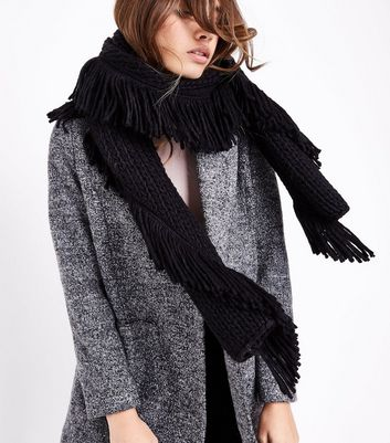 Black Chunky Knit Fringed Scarf New Look