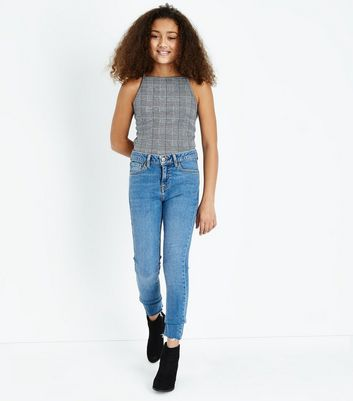 Black Check High Neck Cami Top New Look