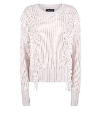 Cream Fringed Ribbed Jumper New Look