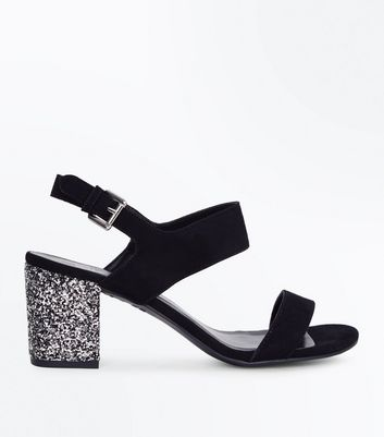 Girls Black Suedette Glitter Block Heel Sandals