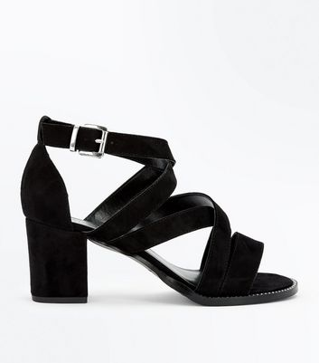 Teens Strappy Suedette Block Heels New Look