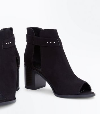 Teens Black Suedette Block Heel Peep Toes New Look
