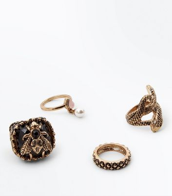 4 Pack Gold Snake and Bee Rings New Look