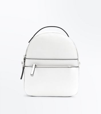 White Convertible Strap Micro Backpack
