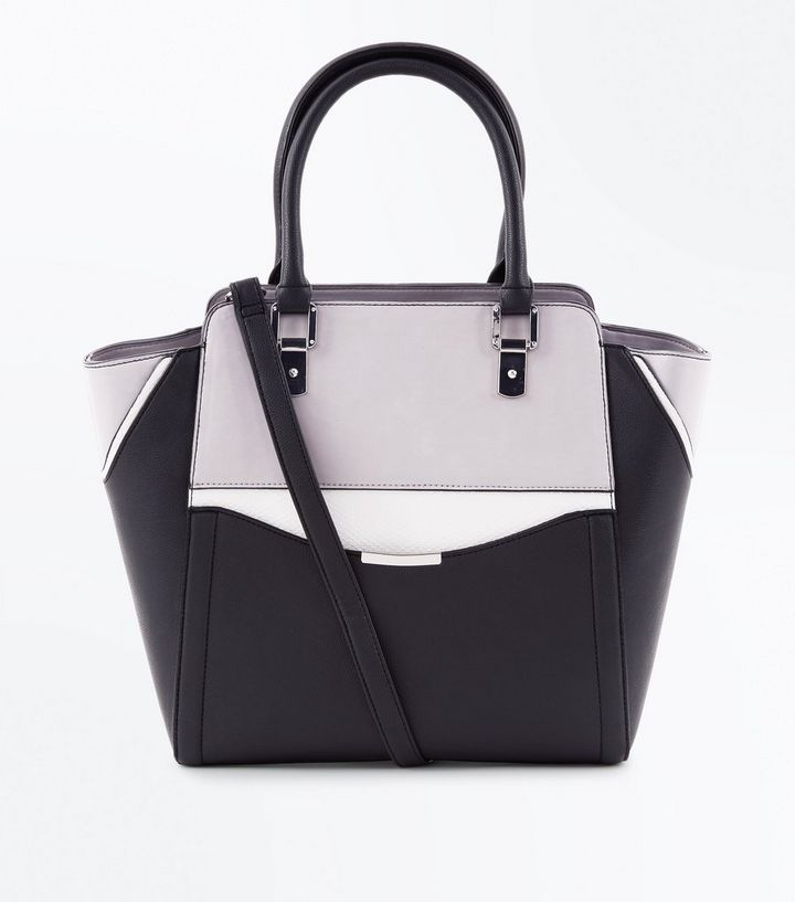 Black Colour Block Structured Tote Bag Add to Saved Items Remove from Saved  Items 86f0c4c87f681