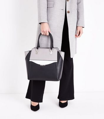 Black Colour Block Structured Tote Bag New Look