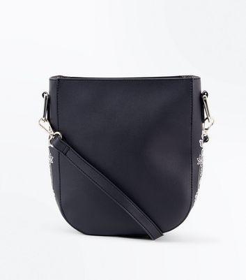 Black Floral Applique Cross Body Bag New Look