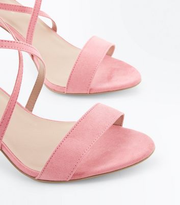 Bright Pink Suedette Strappy Stiletto Sandals New Look