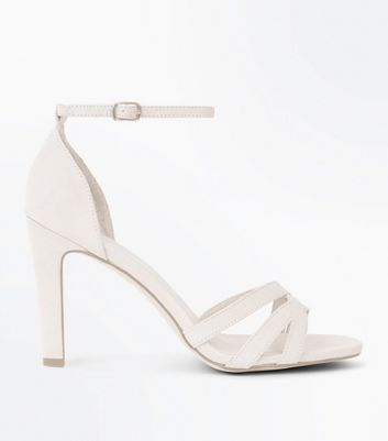 Nude Suedette Slim Block Heel Strappy Sandals New Look