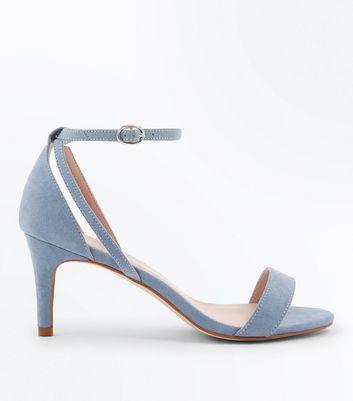 Blue Suedette Cut Out Side Stiletto Sandals New Look