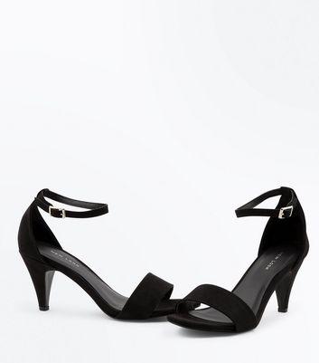 Black Suedette Cone Heel Sandals New Look