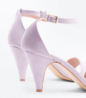 Lilac Suedette Cone Heel Sandals New Look