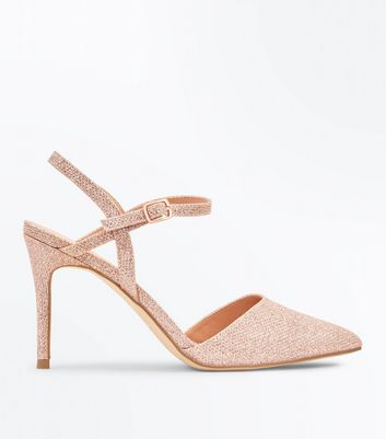 Rose Gold Glitter Cross Strap Side Pointed Courts