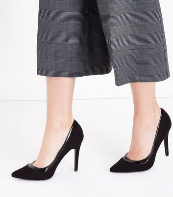 Black Suedette Patent Trim Pointed Court Shoes New Look
