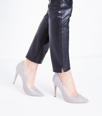 Grey Suedette Patent Trim Pointed Court Shoes New Look