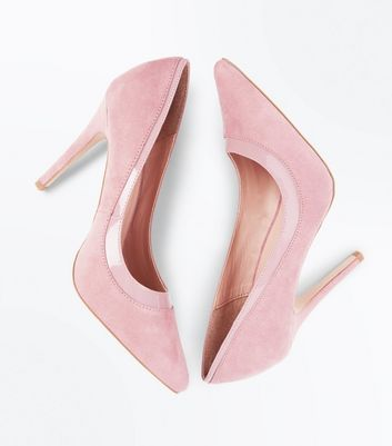 Pink Suedette Patent Trim Pointed Court Shoes New Look