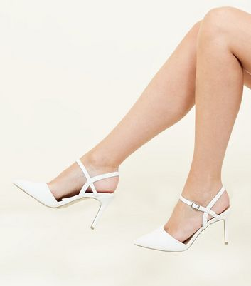 White Open Back Pointed Court Shoes New Look