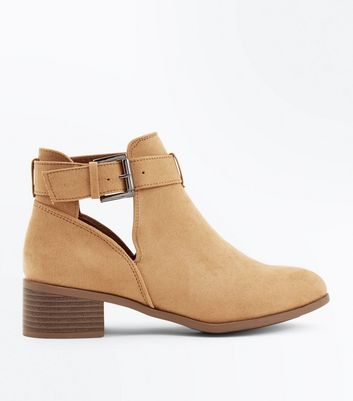 Girls Light Brown Suedette Cut Out Boots