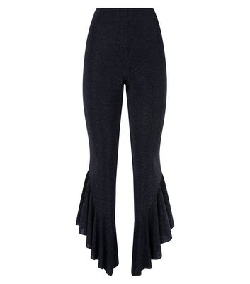 Black Glitter Frill Hem Trousers New Look