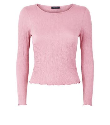 Petite Shell Pink Crinkle Long Sleeve Top New Look