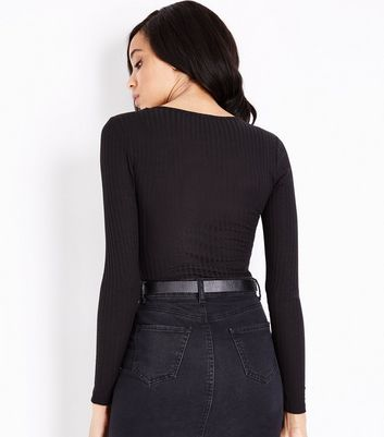 Tall Black V Neck Long Sleeve Bodysuit New Look