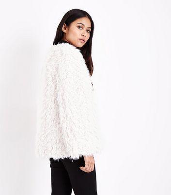 Petite Cream Faux Sheepskin Coat New Look
