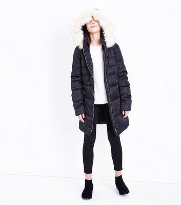 Teens Black Longline Belted Puffer Jacket New Look