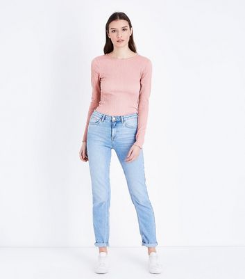 Tall Pink Crinkle Long Sleeve T-Shirt New Look
