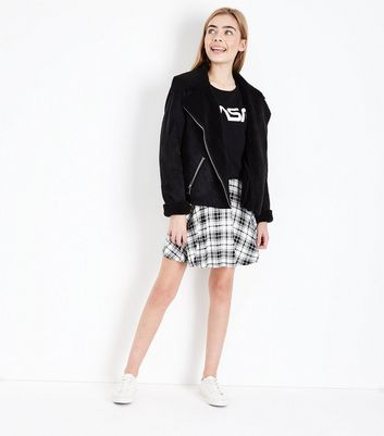 Teens Black Check Skater Skirt New Look