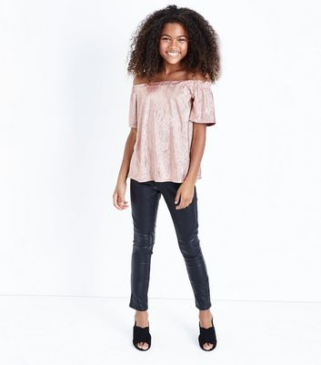 Teens Pink Metallic Bardot Neck Top New Look