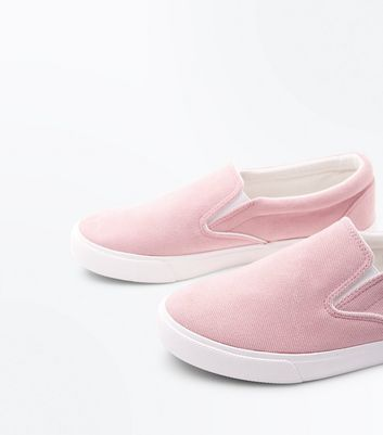 Pink Cord Slip On Trainers New Look