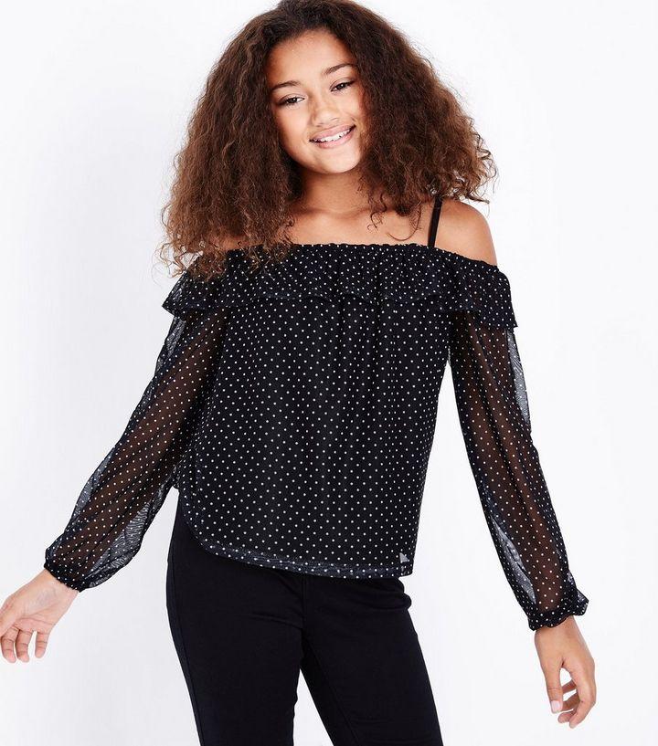 e936124991762 Teens Black Polka Dot Cold Shoulder Top