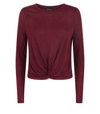 Burgundy Twist Front Long Sleeve Top New Look